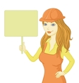 Girl worker holding a sign vector