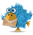 Shaggy blue bird with envelope vector