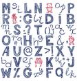 Hand drawing blue doodle alphabet design vector
