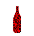Beverage bottle with hearts vector