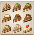 Image set of nine cakes vector