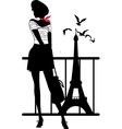 Retro woman silhouette vector