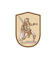 Centurion roman soldier wielding sword cartoon vector