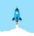 Flat icon of rocket with long shadow style startup vector
