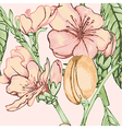 Peach flower seamless pattern vector