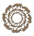 Rhinos in circle vector