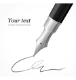 Close up of a fountain silver pen and signature vector