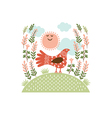 The cute bird on a hill vector