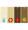 Five wooden labels with floral elements vector