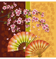 Background with two fans and sakura japanese vector
