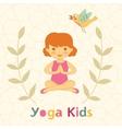 Cute yoga kids card with little girl vector