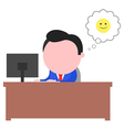 Happy businessman working behind desk vector