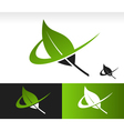 Swoosh green leaf icon vector