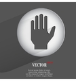 Hand flat modern web button with long shadow and vector