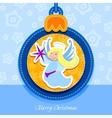 Christmas ball postcard angel vector