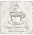 Valentine card with cup of hot drink and wishes te vector