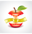 Apple stub with measuring tape vector