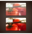 Set of gift cards with blurred background of red vector