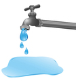 A tap dripping a puddle on the floor vector
