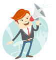 Office man megaphone shouting in front of his vector