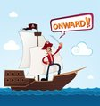 Pirate on a sailing ship vector