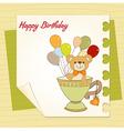 Baby shower card with cute teddy bear vector