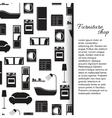 Home interior furniture background vector