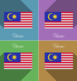 Flags malaysia set of colors flat design and long vector