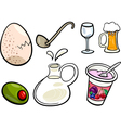 Food objects cartoon set vector