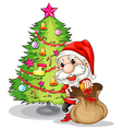 Santa claus near the christmas tree vector