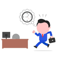 Late businessman rushing to desk vector