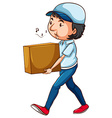 A drawing of a postman with a box vector
