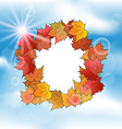 Autumn card with leaves maple on blue sky vector
