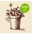 Vintage sketch garden background vector