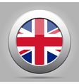 Metal button with flag of uk vector