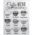 Coffee menu cup coal vector