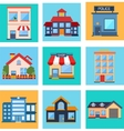 Modern flat buildings set vector