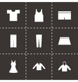 Black clothes eyes icons set vector