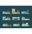 Set of flat design industrial buildings pictograms vector