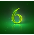 6 green glowing number six vector