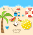 Summer time with flat set colorful simple icons on vector