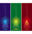 Three christmas trees and snowflakes vector