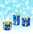 Set blue gift boxes with yellow bows vector