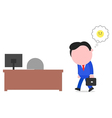 Sad businessman walking to desk vector