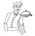 Cartoon waiter - funny doodle vector