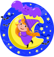 Cute halloween witch flying with bat balloon vector