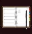 Open personal organizer vector
