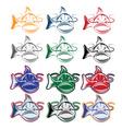 Set of cartoon catfish mascot vector