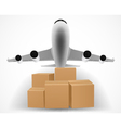 Airplane delivery concept with pile of packages vector
