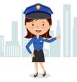 Cheerful policewoman vector